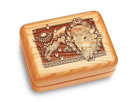 "Top View of a Music Box 4x3"" with laser engraved image of Petro/Bison"