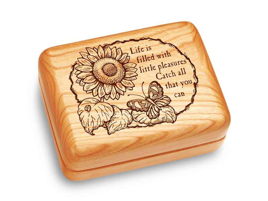 "Top View of a Music Box 4x3"" with laser engraved image of Life is Filled"