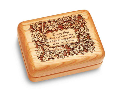 "Top View of a Music Box 4x3"" with laser engraved image of Ecclesiastes 3:1"