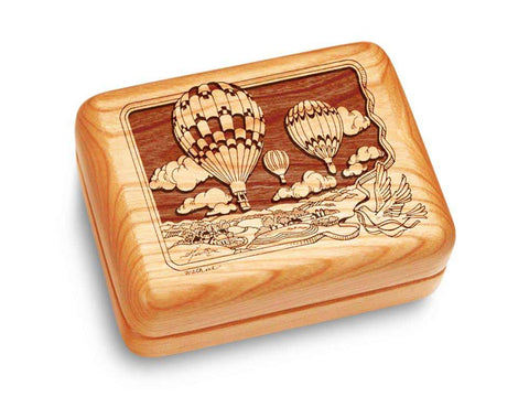 "Top View of a Music Box 4x3"" with laser engraved image of Hot Air Balloons"