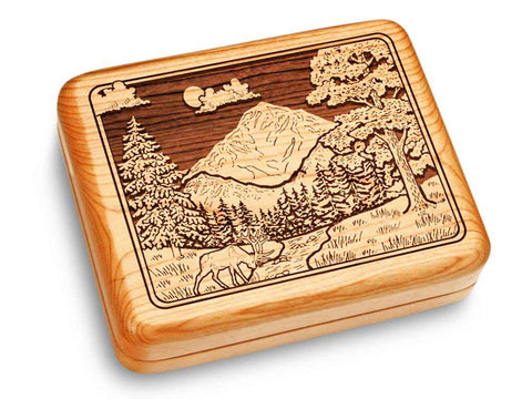 "Top View of a Music Box 6x5"" with laser engraved image of Mountain Scene"