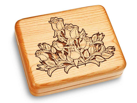 "Top View of a Music Box 6x5"" with laser engraved image of Rose Cluster"