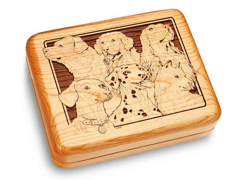 "Top View of a Music Box 6x5"" with laser engraved image of Best Friends"