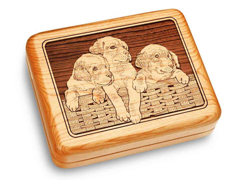 "Top View of a Music Box 6x5"" with laser engraved image of Pups & Basket"