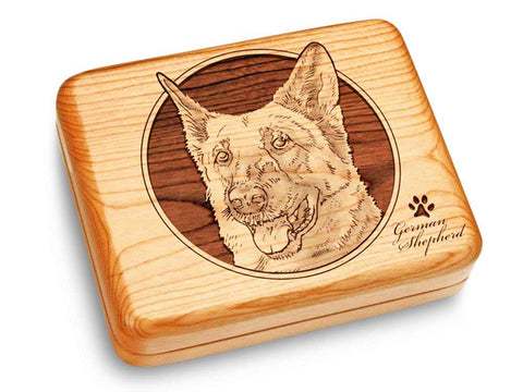"Top View of a Music Box 6x5"" with laser engraved image of German Shepherd"