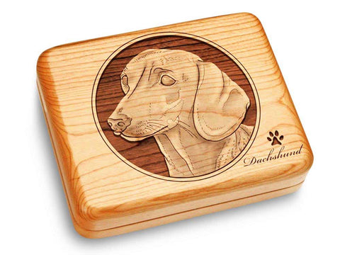 "Top View of a Music Box 6x5"" with laser engraved image of Dachshund"