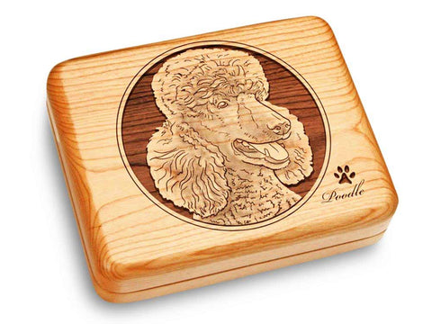 "Top View of a Music Box 6x5"" with laser engraved image of Poodle"