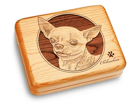 "Top View of a Music Box 6x5"" with laser engraved image of Chihuahua"
