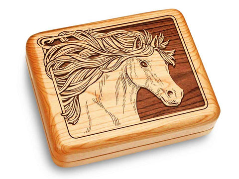 "Top View of a Music Box 6x5"" with laser engraved image of Horse"