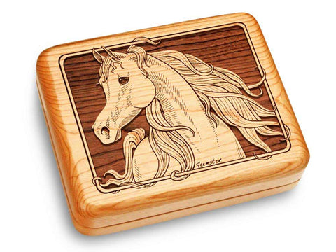 "Top View of a Music Box 6x5"" with laser engraved image of Arabian Horse"