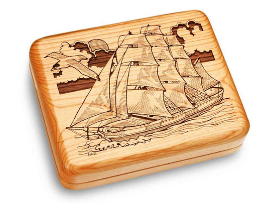 "Top View of a Music Box 6x5"" with laser engraved image of Sailing Ship Circle"