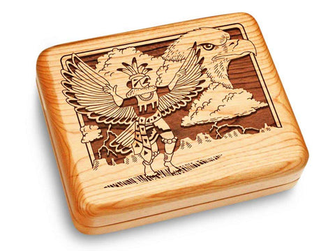 "Top View of a Music Box 6x5"" with laser engraved image of Kachina & Eagle"