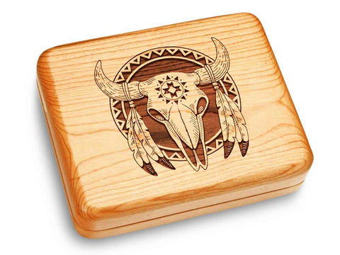 "Top View of a Music Box 6x5"" with laser engraved image of Buffalo Skull"