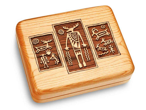 "Top View of a Music Box 6x5"" with laser engraved image of Petroglyph Triptych"
