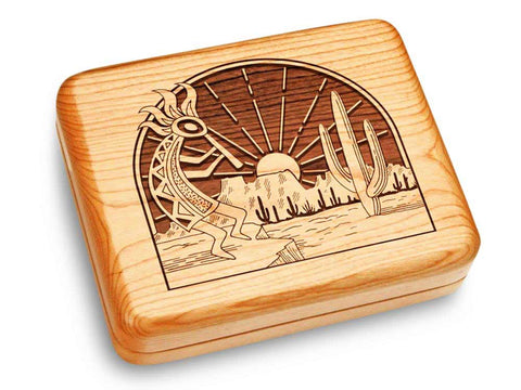 "Top View of a Music Box 6x5"" with laser engraved image of Kokopelli"