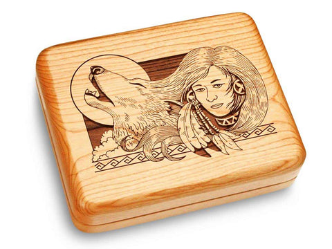 "Top View of a Music Box 6x5"" with laser engraved image of Wolf Maiden"
