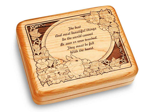 "Top View of a Music Box 6x5"" with laser engraved image of Felt With the Heart"