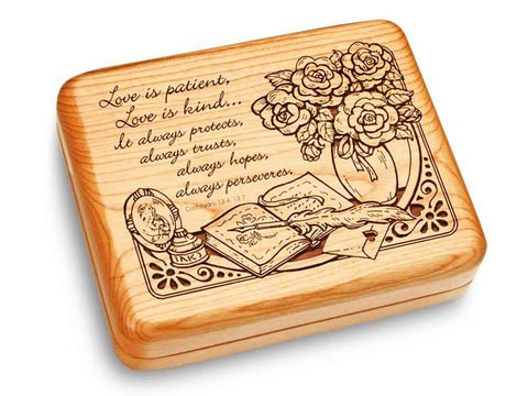 "Top View of a Music Box 6x5"" with laser engraved image of Corinthians 13:4"