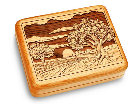 "Top View of a Music Box 6x5"" with laser engraved image of Sunset Field"