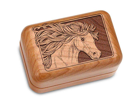 "Top View of a Hinged Box 3x2"" with laser engraved image of Horse"