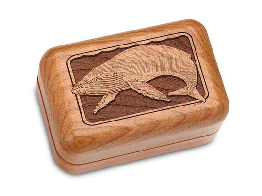 "Top View of a Hinged Box 3x2"" with laser engraved image of Humpback Whale"