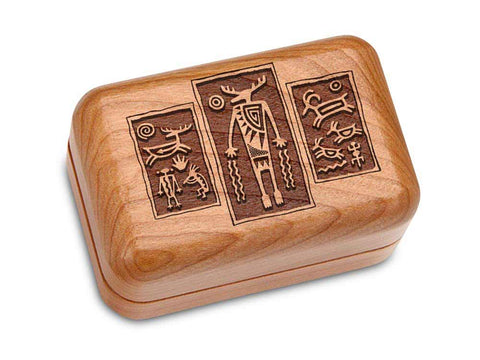 "Top View of a Hinged Box 3x2"" with laser engraved image of Petroglyph Triptych"