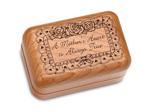 "Top View of a Hinged Box 3x2"" with laser engraved image of Mother's True Love"