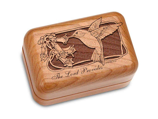 "Top View of a Hinged Box 3x2"" with laser engraved image of Hummingbird"