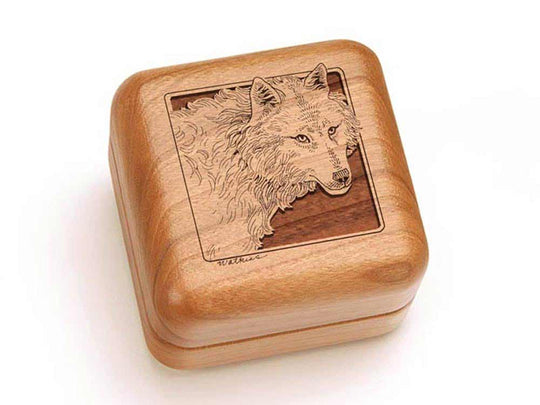 "Top View of a 2 1/2"" Square with laser engraved image of Timber Wolf"