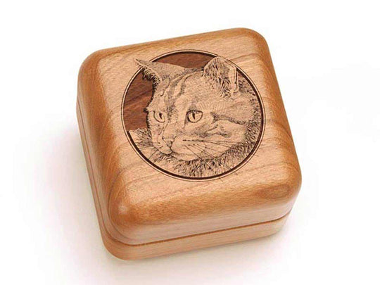 "Top View of a 2 1/2"" Square with laser engraved image of Cat Head"