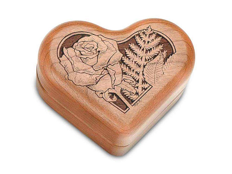 "Top View of a Hinged Box 3"" Heart with laser engraved image of Roses in Heart"