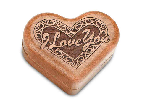 "Top View of a Hinged Box 3"" Heart with laser engraved image of Heart - I Love You"