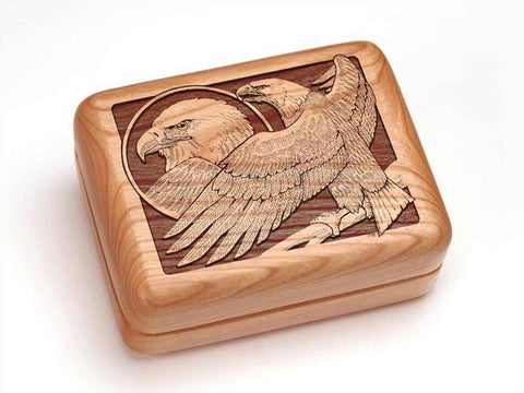 "Top View of a Hinged Box 4x3"" with laser engraved image of Eagle Perched"