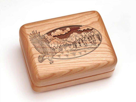 "Top View of a Hinged Box 4x3"" with laser engraved image of Eagle/Mtn Scene"