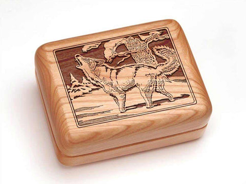 "Top View of a Hinged Box 4x3"" with laser engraved image of Wolf Howling"