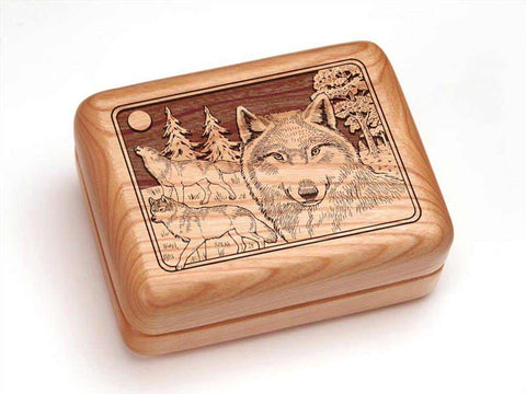 "Top View of a Hinged Box 4x3"" with laser engraved image of Wolf Pack"