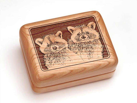 "Top View of a Hinged Box 4x3"" with laser engraved image of Raccoons"