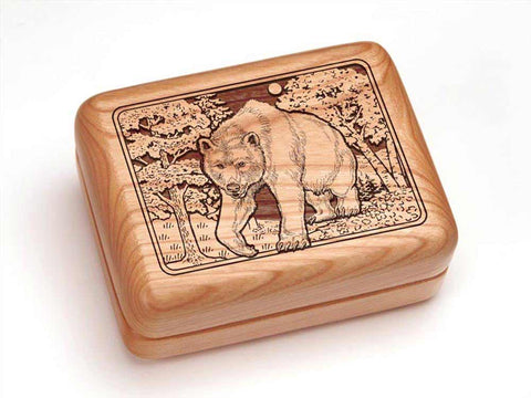 "Top View of a Hinged Box 4x3"" with laser engraved image of Bear/Woods"