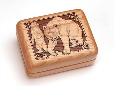 "Top View of a Hinged Box 4x3"" with laser engraved image of Bear/Paw"