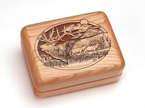 "Top View of a Hinged Box 4x3"" with laser engraved image of Elk & Mountain"