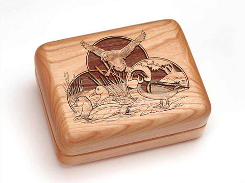 "Top View of a Hinged Box 4x3"" with laser engraved image of Duck Collage"