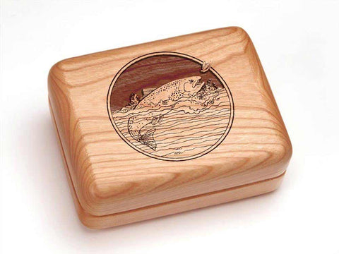 "Top View of a Hinged Box 4x3"" with laser engraved image of Trout"