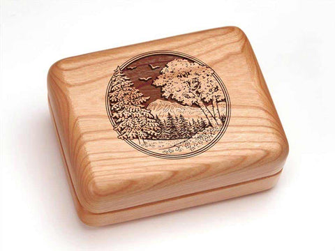 "Top View of a Hinged Box 4x3"" with laser engraved image of Mountain Scene"