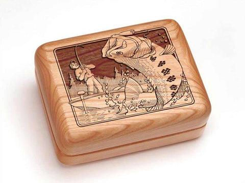 "Top View of a Hinged Box 4x3"" with laser engraved image of Fisherman"