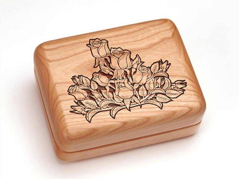 "Top View of a Hinged Box 4x3"" with laser engraved image of Rose Cluster"