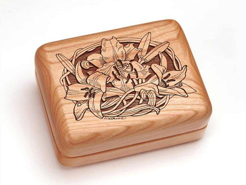 "Top View of a Hinged Box 4x3"" with laser engraved image of Lily"