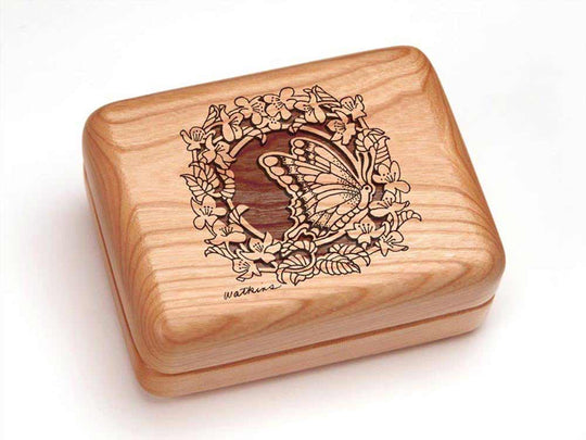 "Top View of a Hinged Box 4x3"" with laser engraved image of Butterfly Wreath"