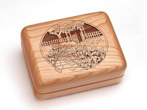 "Top View of a Hinged Box 4x3"" with laser engraved image of Garden Gate"