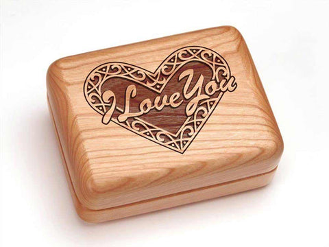 "Top View of a Hinged Box 4x3"" with laser engraved image of Heart - I Love You"