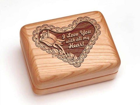 "Top View of a Hinged Box 4x3"" with laser engraved image of I Love with all"